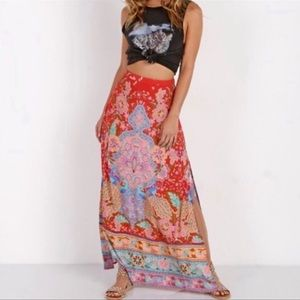 Malva Lotus Feathers Bohemian Maxi Skirt